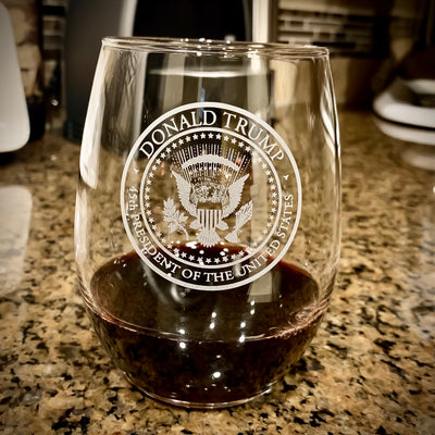 Trump Seal Stemless Wine Glass