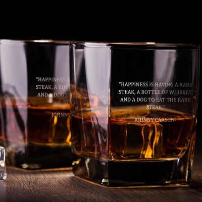 Johnny Carson (Happiness) - D.O.F Whiskey/Bourbon/Scotch Set of 2 (Round or Square)
