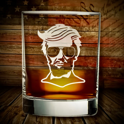 Trump Lincoln Engraved Whiskey / Bourbon Glasses Set