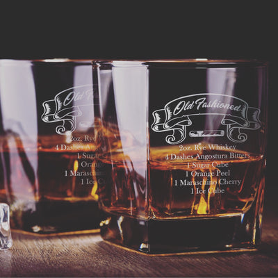 Old Fashioned Recipe Glasses Set - Old Fashioned Whiskey/Bourbon/Scotch Set of 2 (Round or Square)