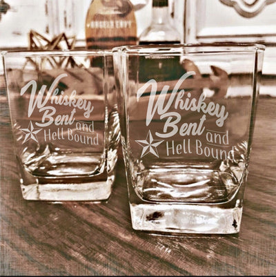 Whiskey Bent and Hell Bound Set Whiskey Glass Set