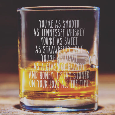 Tennessee Whiskey Lyric Glasses Set - Old Fashioned Whiskey/Bourbon/Scotch Set of 2 (Round or Square)