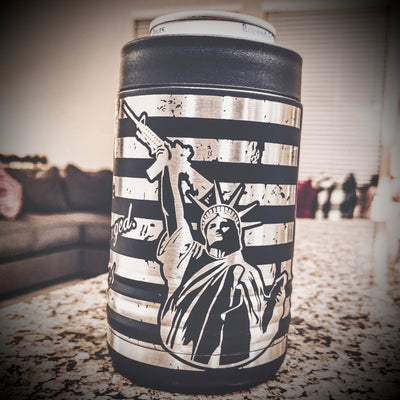 Second Amendment / Lady Liberty / Can Koozie / 360 Laser Etched