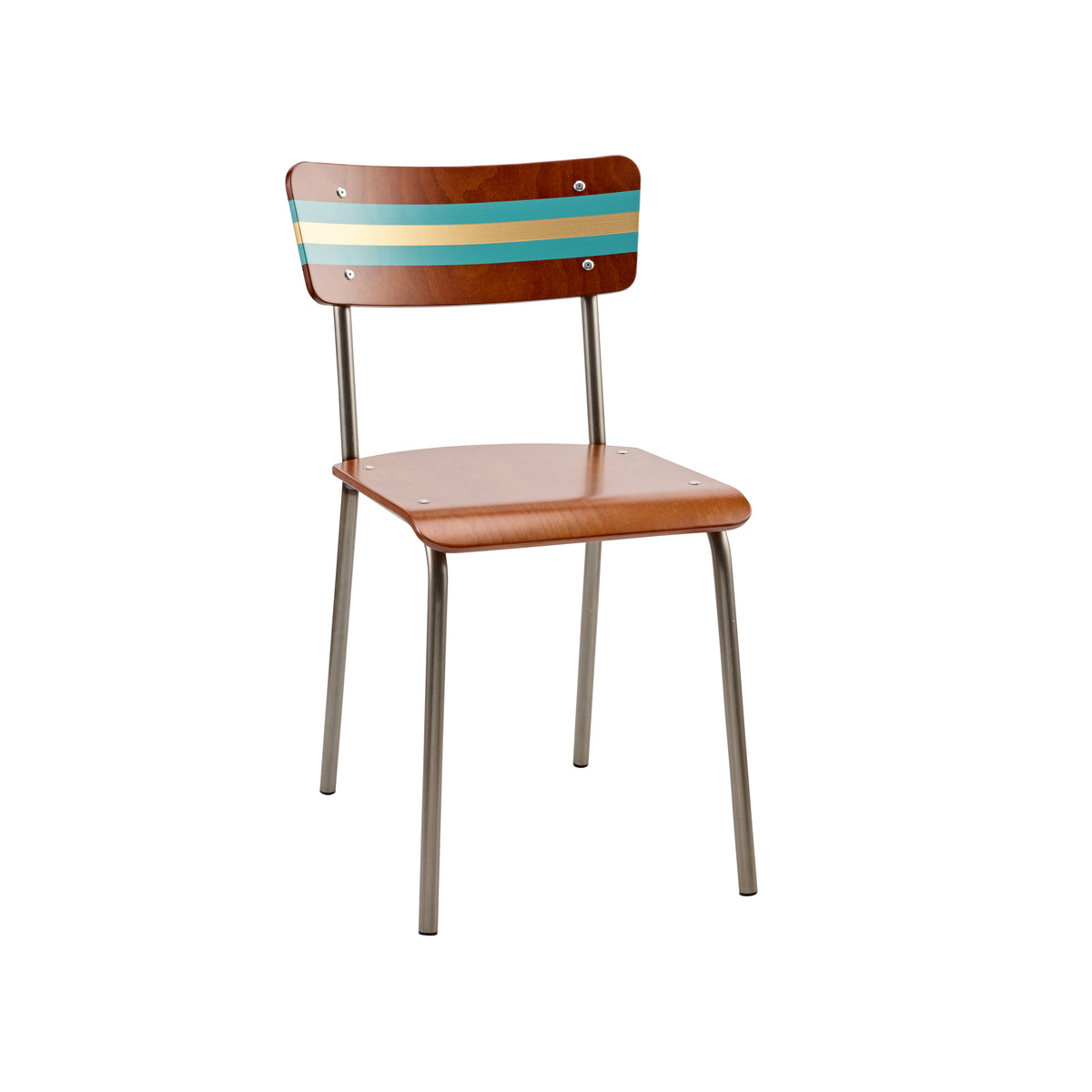 Hand Painted School Chair - Teal & Gold