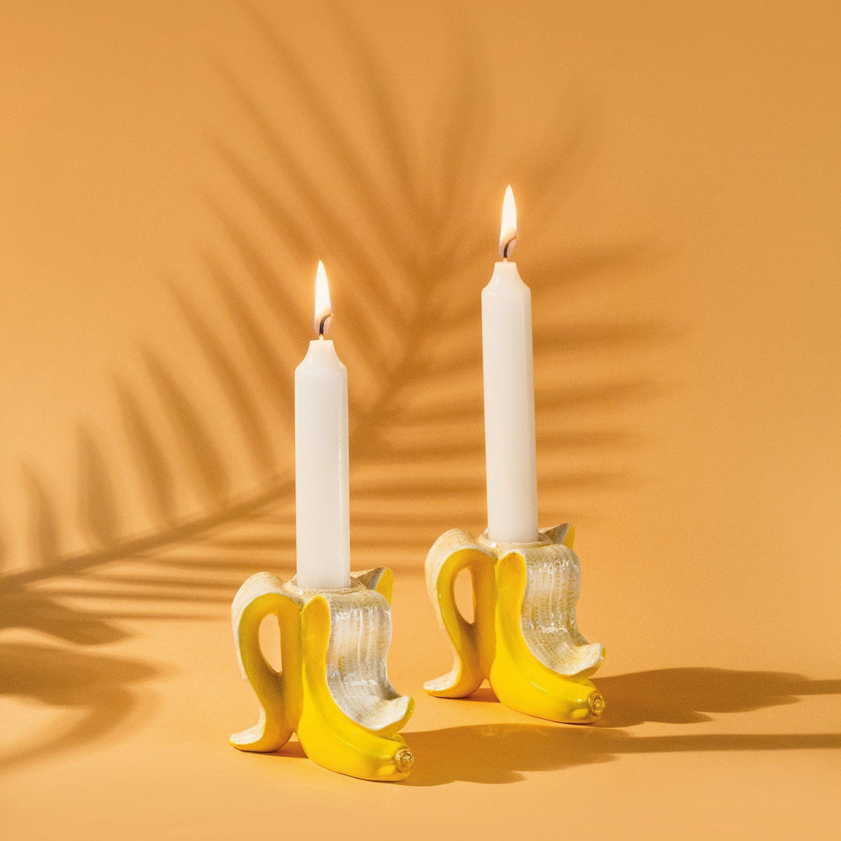 Banana Romance Candle Holder Set of 2