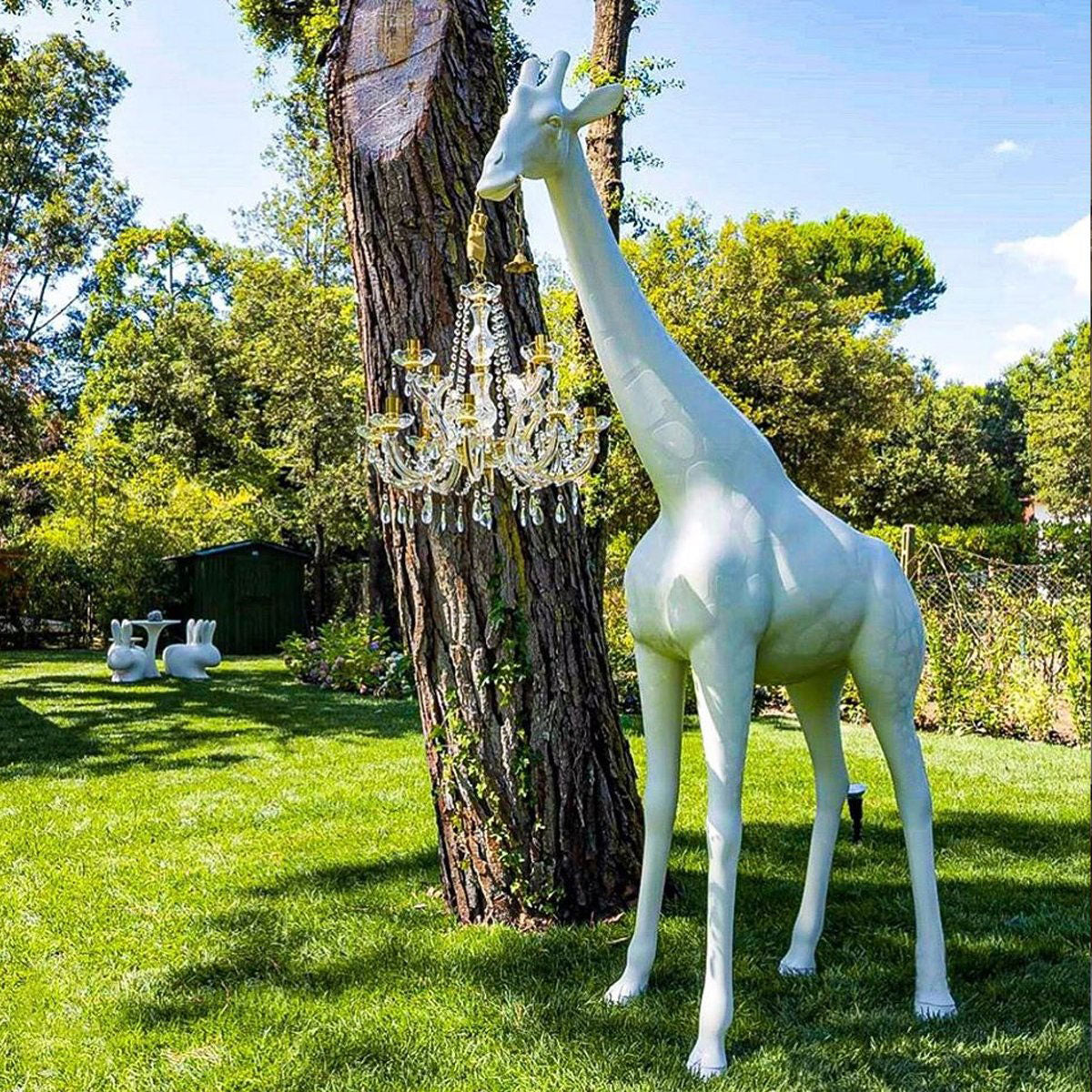 Giraffe Chandelier XL White