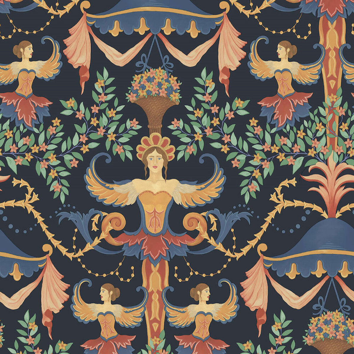 Cole & Son 'Chamber Angels Ink ' Wallpaper