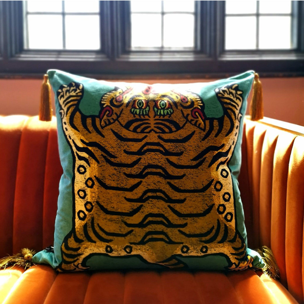 House of Hackney Saber Velvet Cushion (Teal)