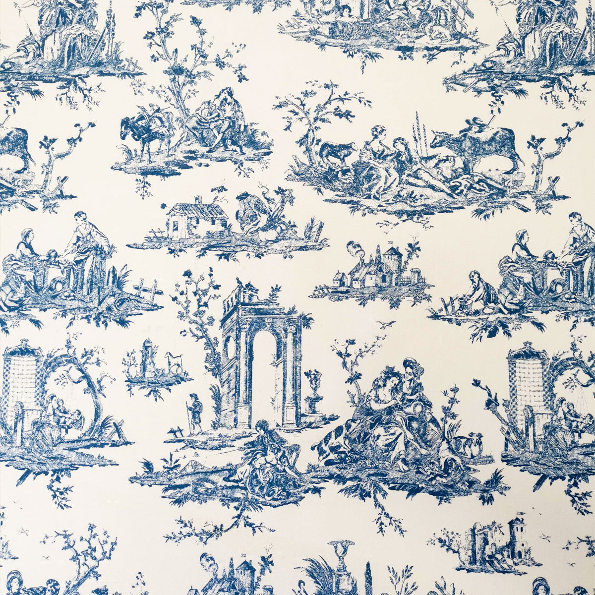 Courthouse Toile Fabric Blue