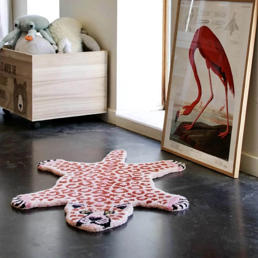 Pink Leopard Rug Small