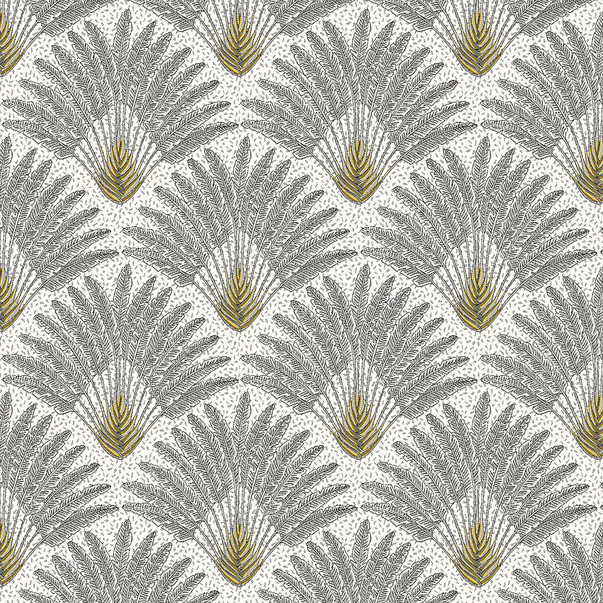 White Vintage Palm Fabric