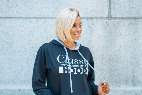 Classy With a Side of Hood Hoodie - BLACK/GREY
