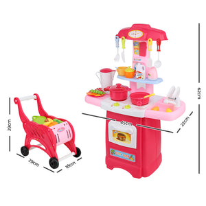 Kids Kitchen and Trolley Playset - Red