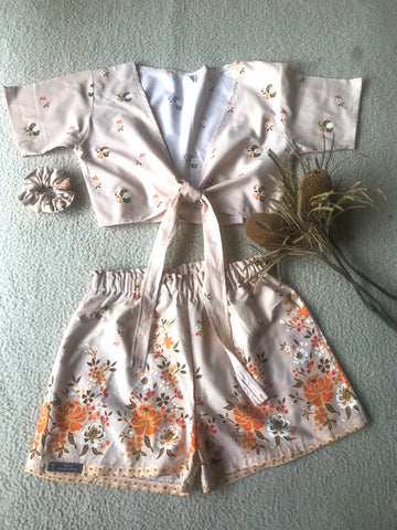 Tie top short set ~ Vintage Flora