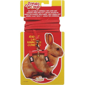 LIVING WORLD RABBIT HARNESS/LEAD SET RED