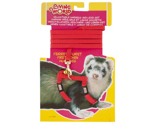 LIVING WORLD FERRET HARNESS/LEAD SET RED