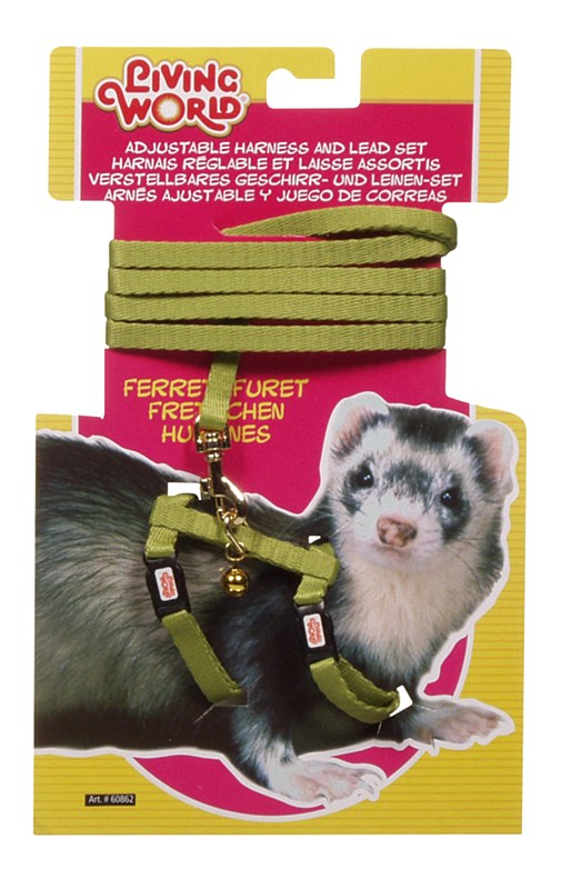 LIVING WORLD FERRET HARNESS LEAD/SET GRN