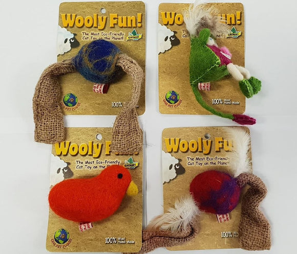 ASSORTED WOOLY FUN CAT TOY