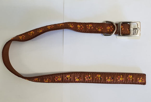 PAWPRINT COLLAR BROWN 25MM 60cm