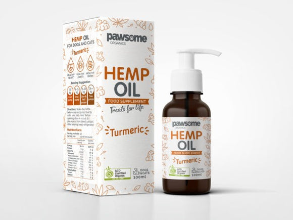 PAWSOME ORG HEMP OIL TUMERIC 100ML