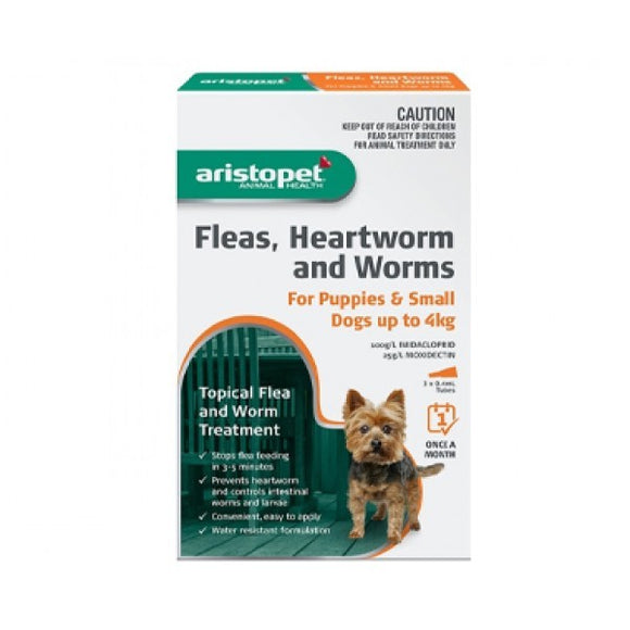 ARISTOPET FLEAS, HEARTWORM AND WORMS FOR PUPPIES AND SMALL DOGS UP TO 4KG 6PACK