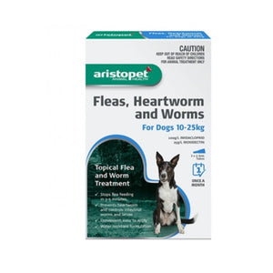 ARISTOPET FLEAS, HEARTWORM AND WORMS FOR DOGS 10-25KG 6PACK