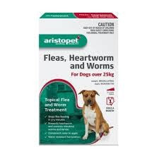 ARISTOPET FLEAS, HEARTWORM AND WORMS FOR DOGS OVER 25KG 3PACK