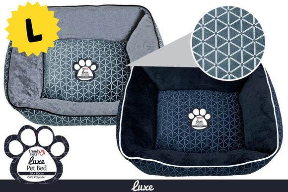 LUXE PET BED ASST. COLOURS 70X60X25CM