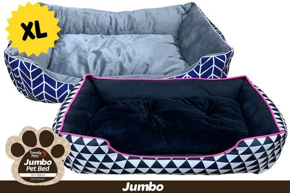 JUMBO PET BED 70 X 100 X 25CM XL ASSORTED