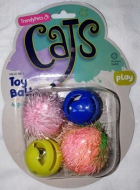 4PCE CAT TOY BALLS W/JINGLE.