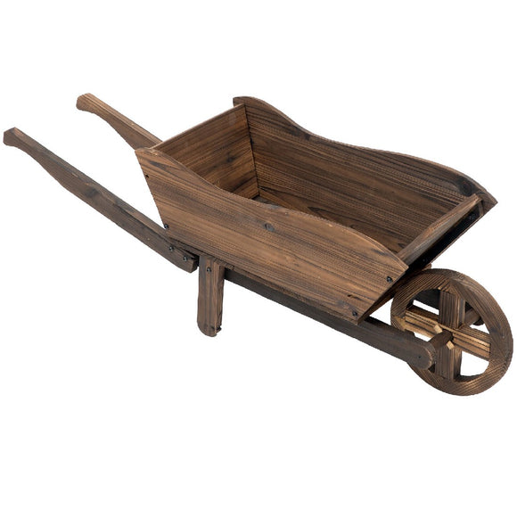 WOODEN TROLLEY FLOWER POT 100X31X32CM