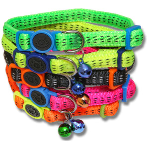 PADDED NYLON CAT COLLAR SAFETY BUCKLE ASSORTED