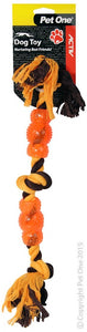PET ONE DOG TOY ROPE ORANGE/ BLACK 48CM
