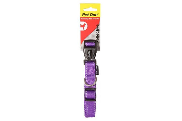 COLLAR NYLON REFL ADJ 17 TO 26CM 10MM PURPLE
