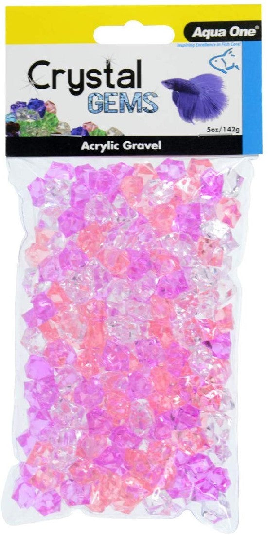 AQUA ONE CRYSTAL GEMS ACRYLIC BETTA GRAVEL 145G 15MM PURPLE PASSION