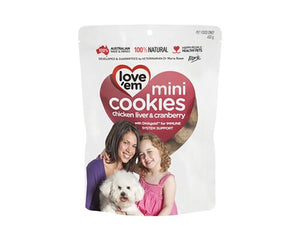 LOVE 'EM COOKIES MINI CHIK & CRANBERRY 300GM