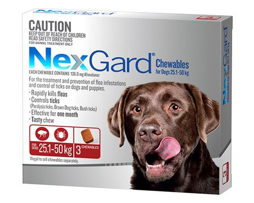 NEXGARD DOG CHEW 25.1-50KG RED 3PK