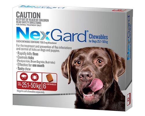 NEXGARD DOG CHEW 25.1-50KG RED 6PKT