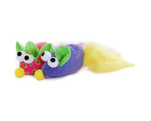 C/TOY MOUSE PLUSH W/FEATHER PURP/PNK 2PK