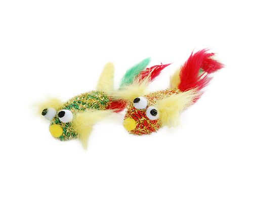 C/TOY FISH PLUSH W/ FEATHERS 2PK