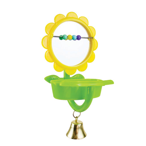B/TOY FLOWER MIRROR W/BEADS CUP PERCH