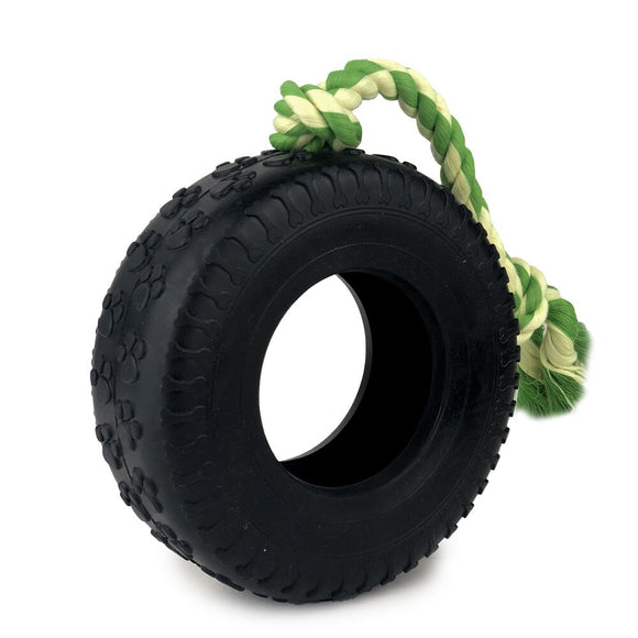 D/TOY TIRE W/ROPE LGE 15CM