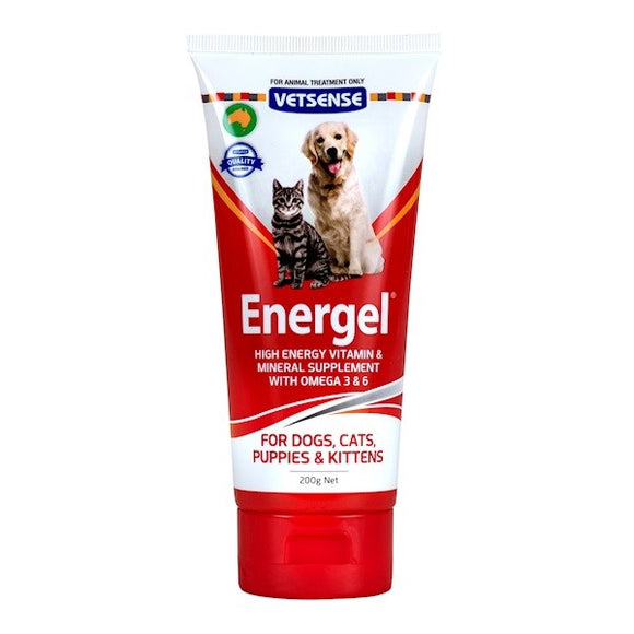 VETSENSE ENERGEL 200G- MULTI VITAMIN MINERAL AND OMEGA 3 AND 6 SUPPLEMENT