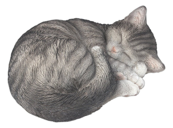 SLEEPING GREY CAT STATUE 28X21X11CM