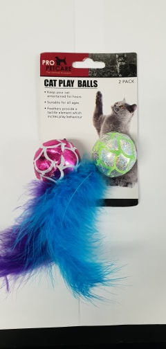 2PK METALLIC CAT PLAY BALLS W/FEATHER