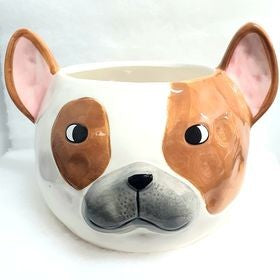 FRENCH BULLDOG PLANTER POT SMALL 14.5X12.5X11CM