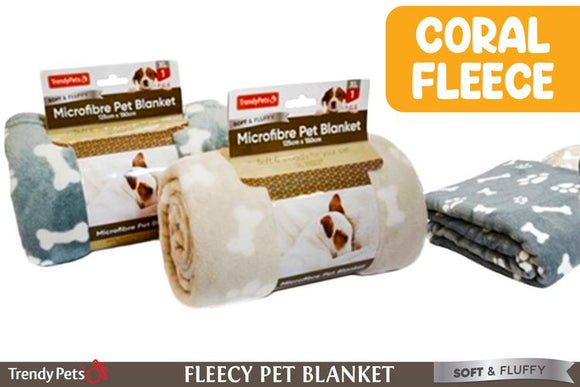 CORAL FLEECE PET BLANKET ASST.COLOURS 125X150CM