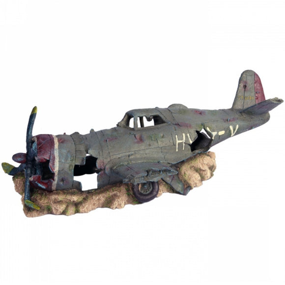 AQUA ONE ORNAMENT RUINED FIGHTER PLANE XL 63X29X23CM