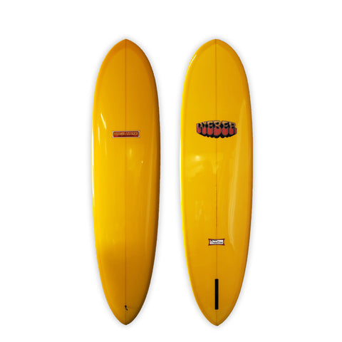"<span>Golden Yellow Single Fin </span>7'6"" Feather Fastback"