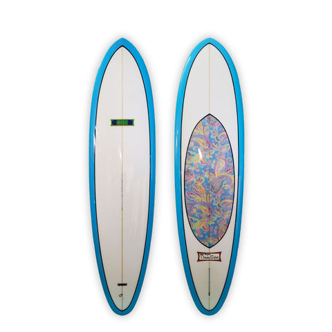 "<span>Sky Blue & Paisley Inlay </span>7'6"" Ski"